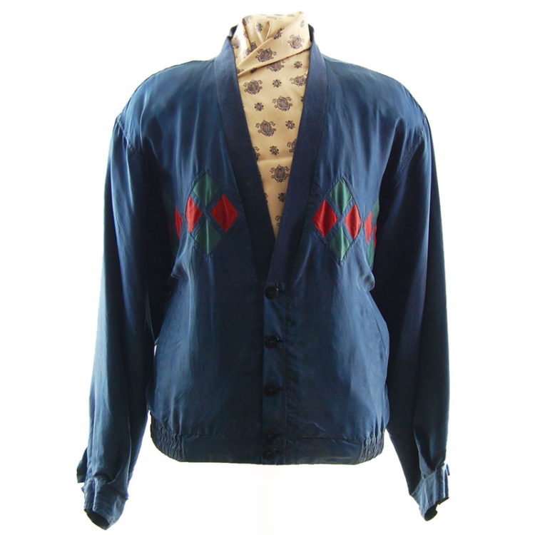 Navy Silk Bomber Jacket
