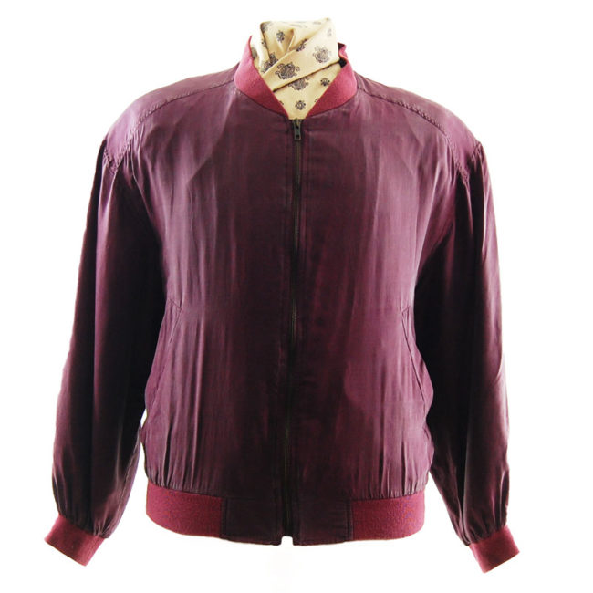 Noble Silk Deep Red Bomber Jacket
