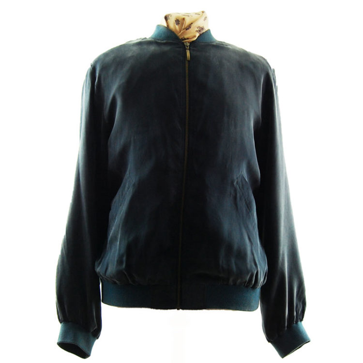 Pure Silk Blue Bomber Jacket