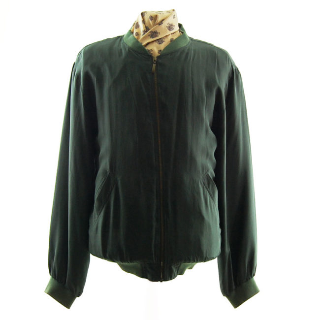 Pure Silk Green Bomber Jacket