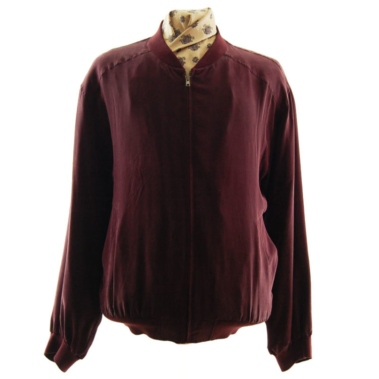 Wine Red Silk Bomber Jacket