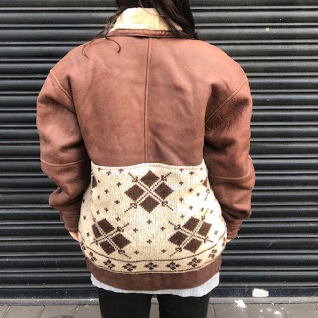 back of 70s Vintage Oversized Brown Leather Jacket