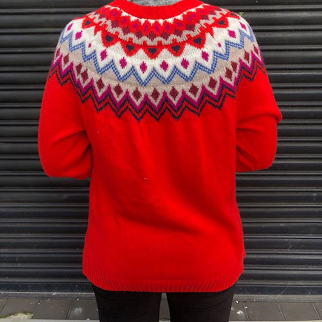 back of 80s Old Navy Womens Red Jumper
