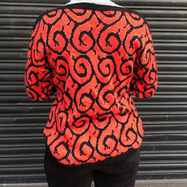 back of 80s Red Glitter And Black Jumper