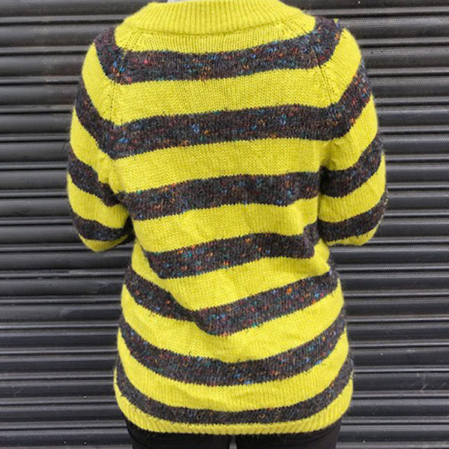 back of 80s Vintage Green And Grey Striped Jumper