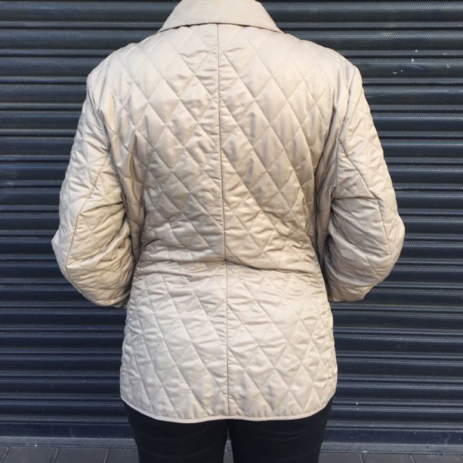 back of Burberry Cream Quilted Jacket