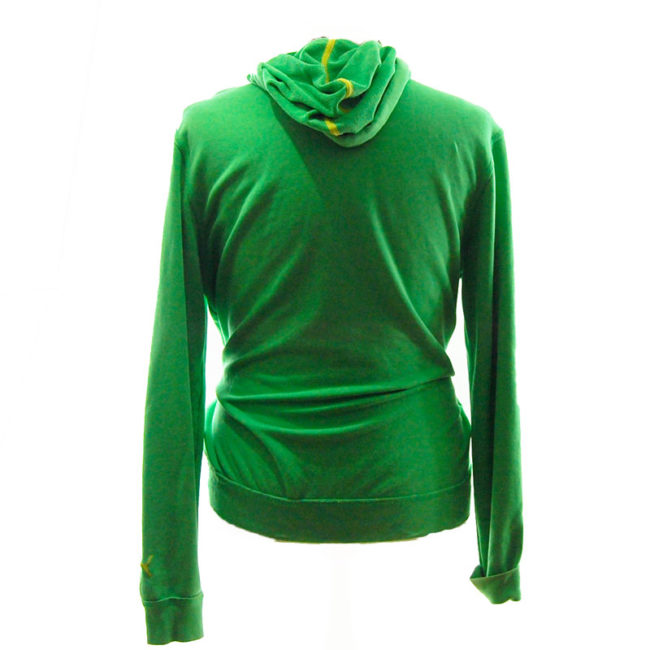 back of Puma Green Quarter Length Zip Hoodie