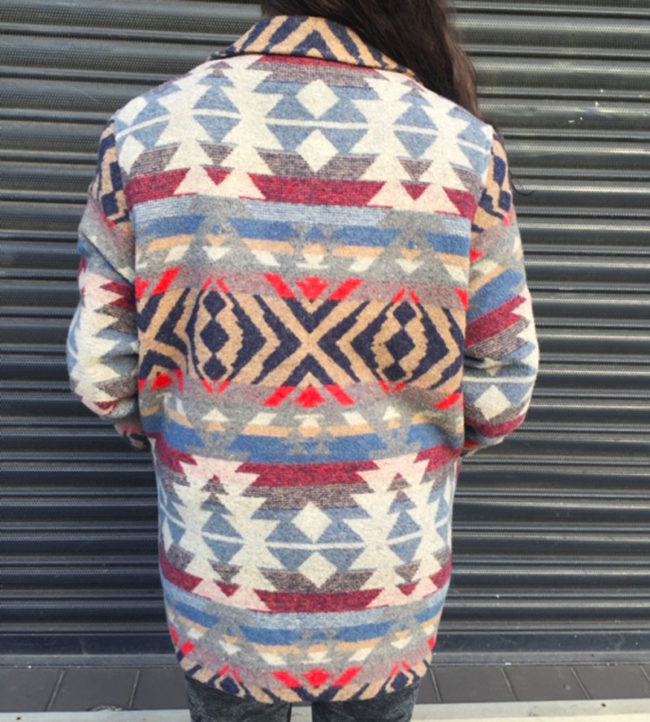 back of Womens Aztec Print Winter Coat