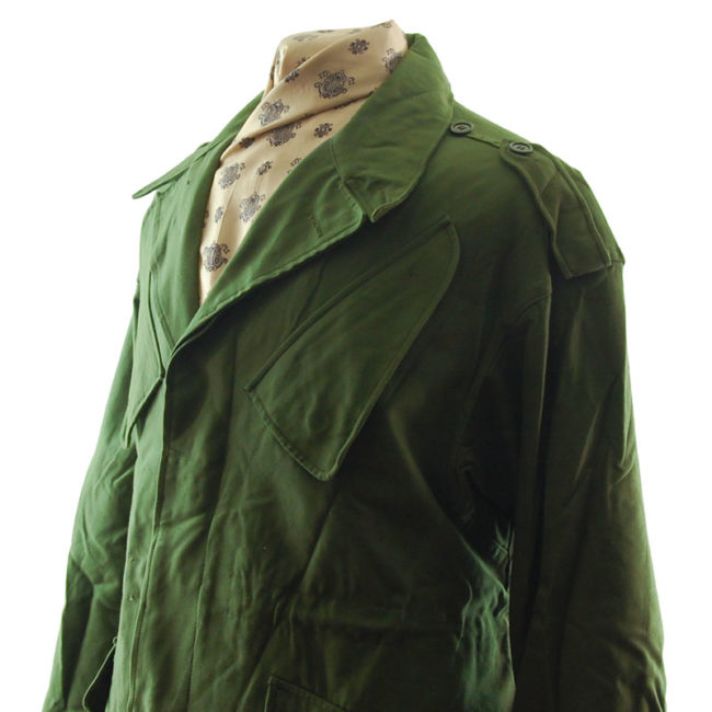 close side of Dutch Olive Green Military Jacket