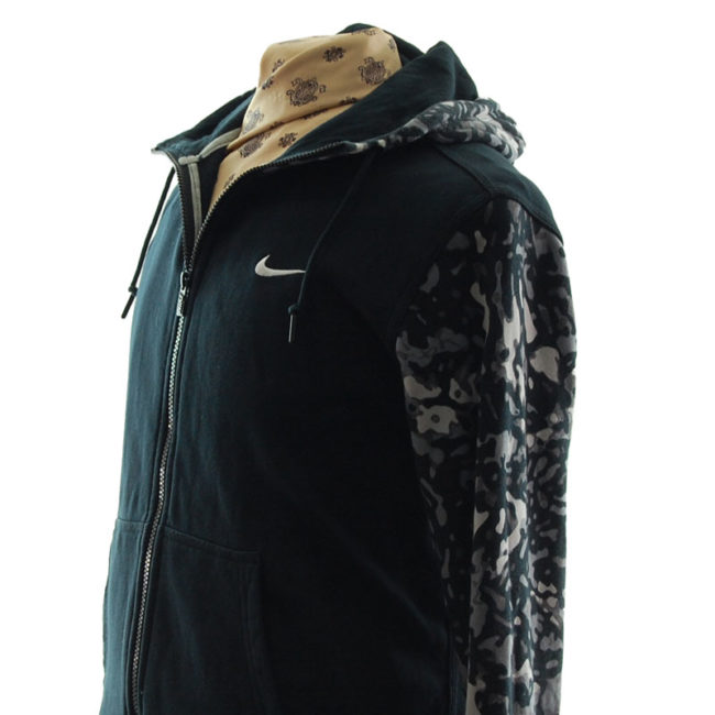 close side of Nike Grey Camouflage Hoodie