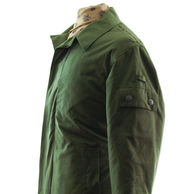 close side of Padded Olive Green Military Jacket