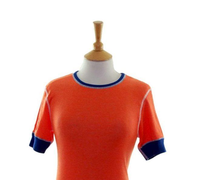Close up of 70s Orange Dead Stock Tee Shirt