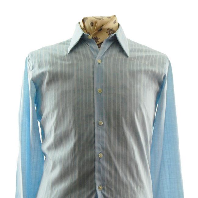 close up of 70s Mens Blue Striped Shirt