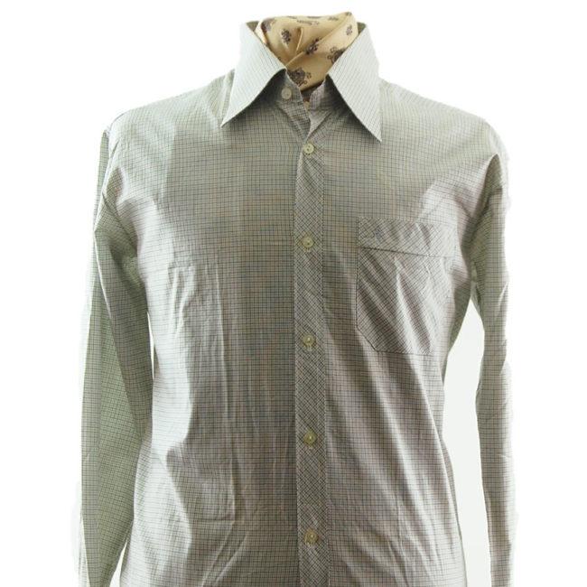 close up of 70s Mens Small Check Shirt