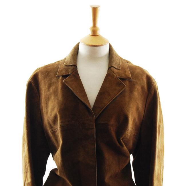 close up of 70s Vintage Suede Jacket