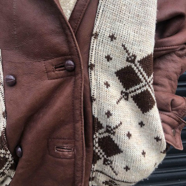 close up of 70s Vintage Oversized Brown Leather Jacket