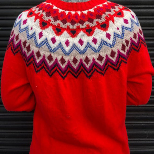 close up of 80s Old Navy Womens Red Jumper