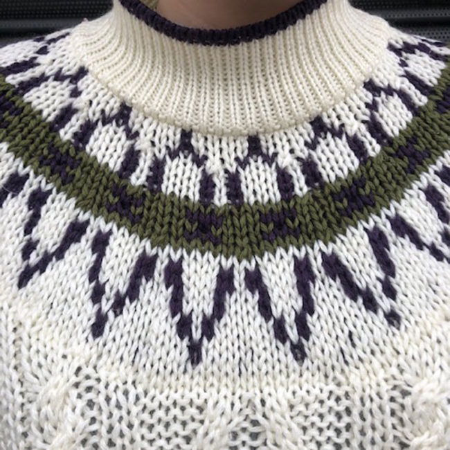 close up of 80s Vintage Cable Knit Jumper