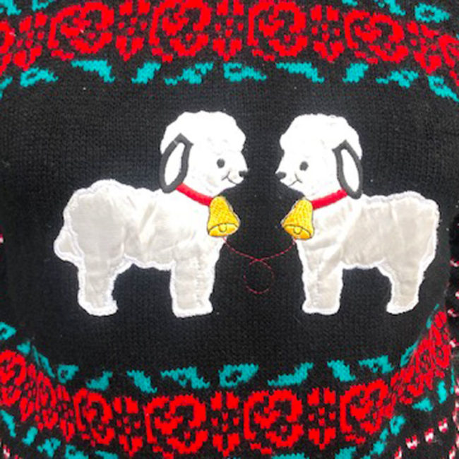 close up of 80s Womens Vintage Animal Jumper