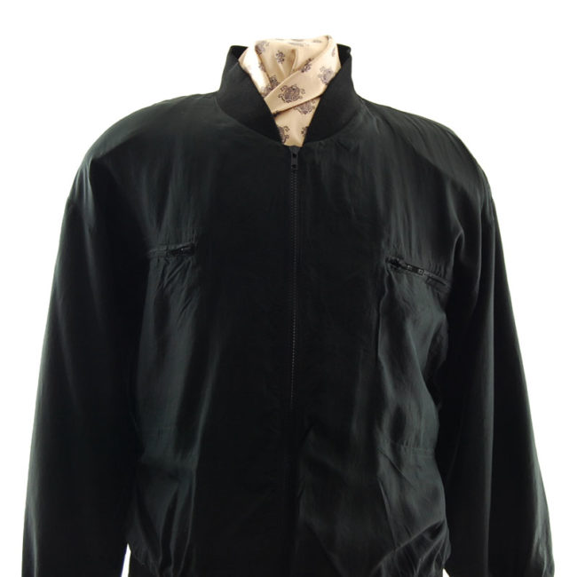 close up of Black Silk Bomber Jacket