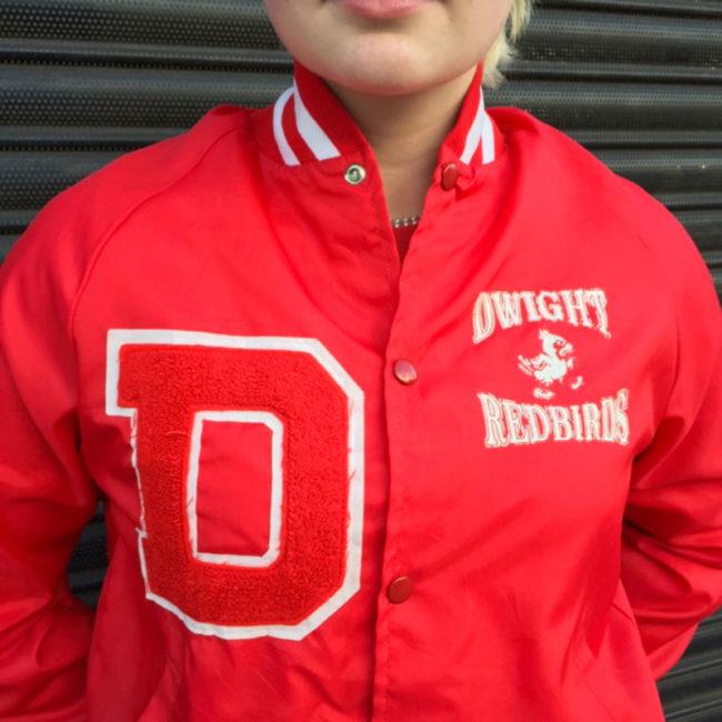 close up of Dwight Red Birds Baseball Jacket