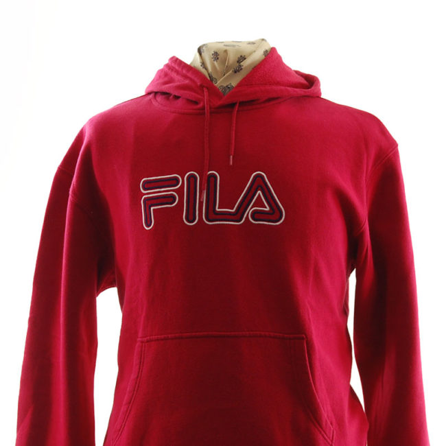 close up of Fila Bright Red Hoodie