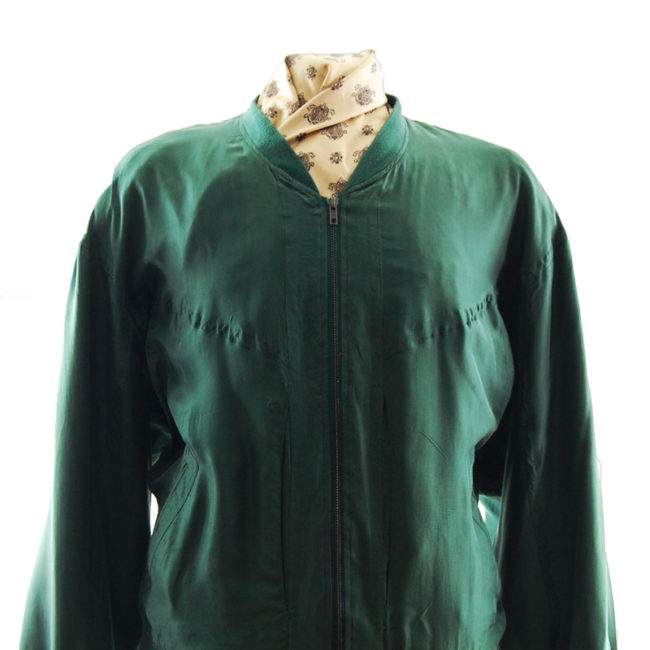 close up of Forest Green Silk Bomber Jacket