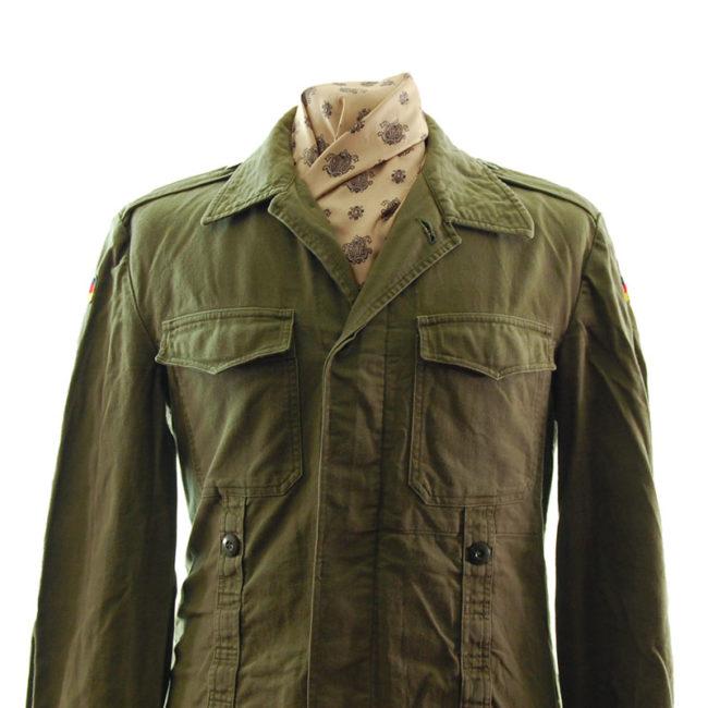 close up of German Plain Green Military Jacket
