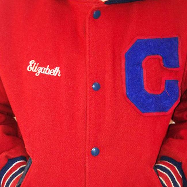 close up of High School Baseball Jacket