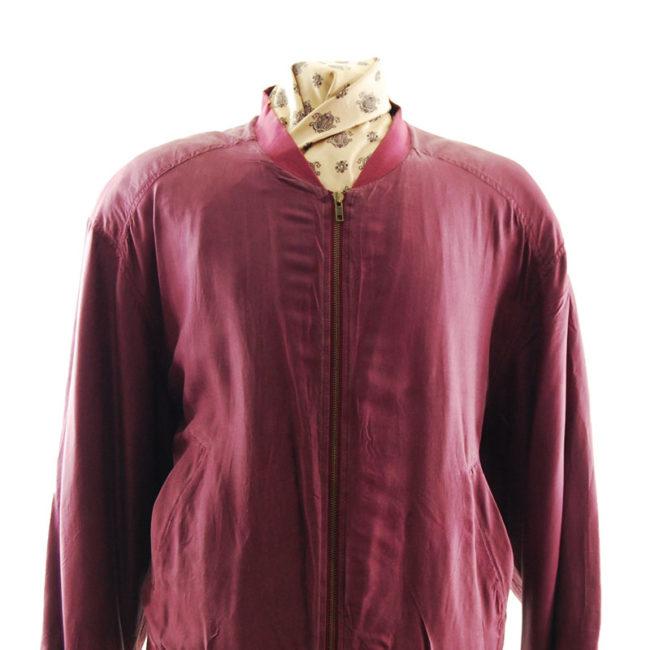 close up of Mens Burgundy Silk Bomber Jacket
