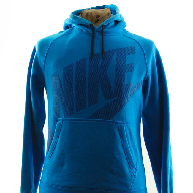 close up of Nike Dusty Blue Hoodie