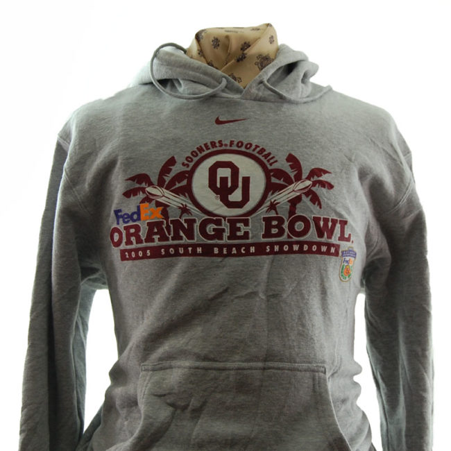 close up of Nike Orange Bowl Football Hoodie