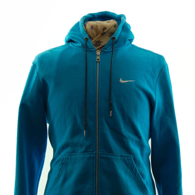close up of Nike Turquoise Block Colour Hoodie