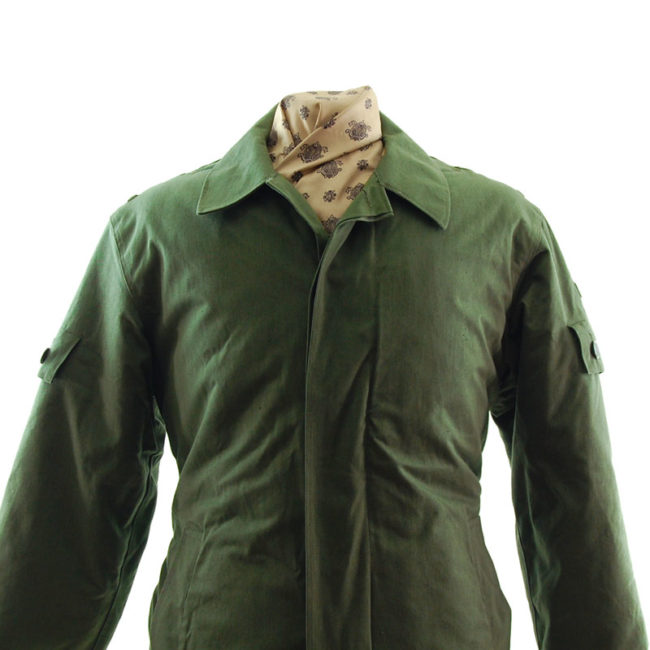 close up of Padded Olive Green Military Jacket