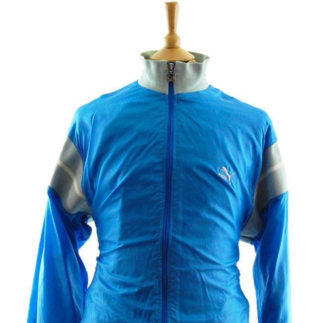 close up of Puma Baby Blue Windbreaker Jacket