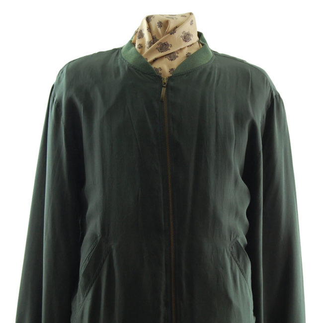 close up of Pure Silk Green Bomber Jacket