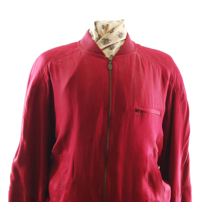 close up of Redpoint Red Silk Bomber Jacket