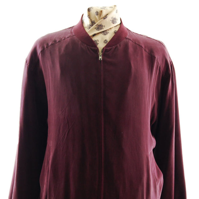 close up of Wine Red Silk Bomber Jacket