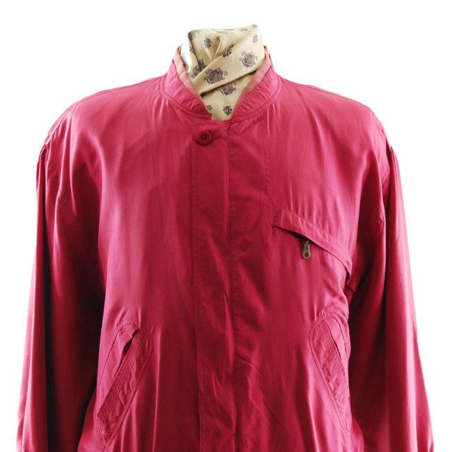 close up of Yorn For Men Pink Bomber Jacket