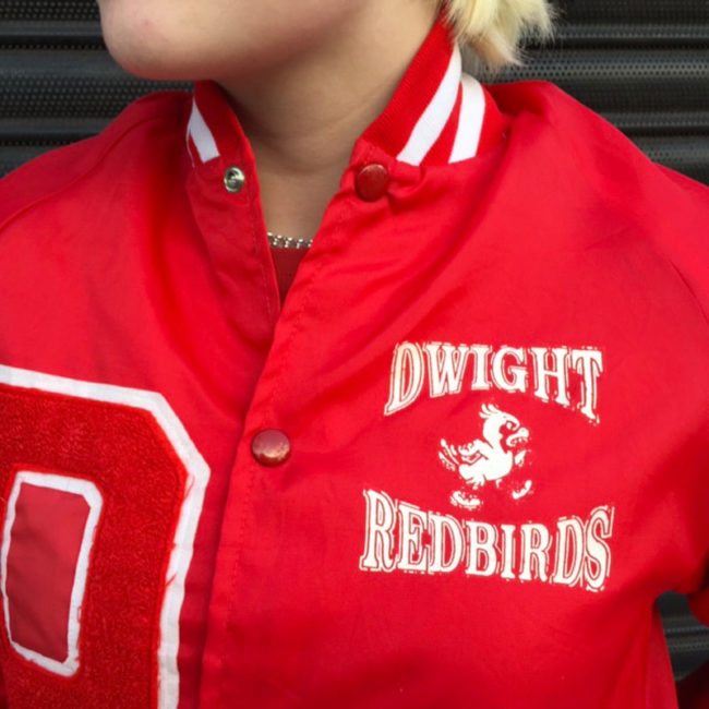 front of Dwight Red Birds Baseball Jacket