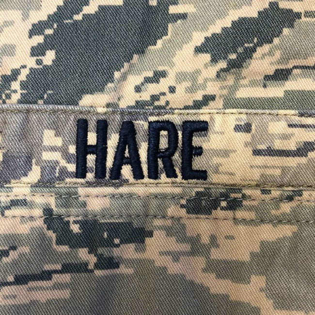 """Name label """"Hare"""""""