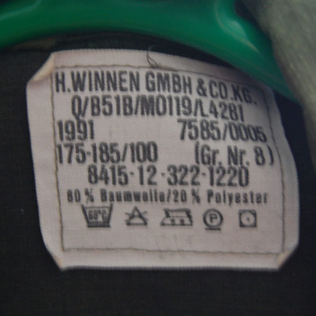 Military label from 1991