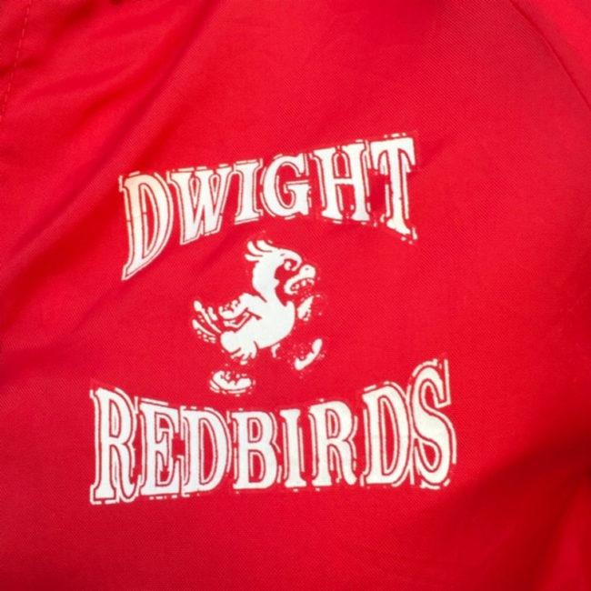 left side of Dwight Red Birds Baseball Jacket