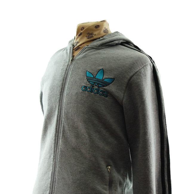 side of Adidas Grey Zip Up Hoodie