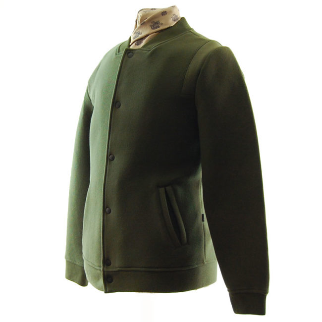 side of Capsize Attire Green Baseball Jacket