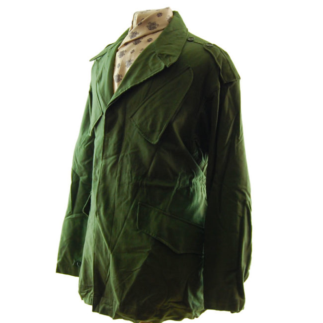 side of Dutch Olive Green Military Jacket