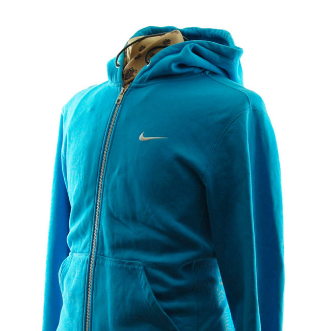 side of Nike Turquoise Block Colour Hoodie