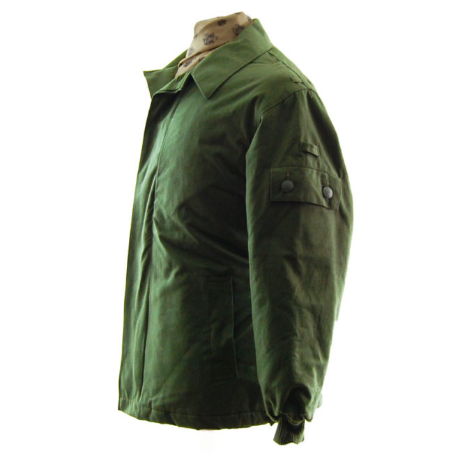 side of Padded Olive Green Military Jacket