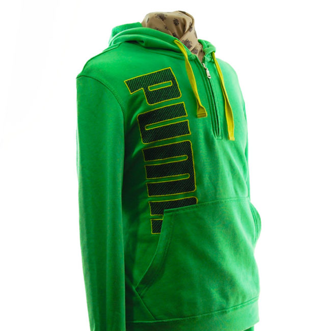 side of Puma Green Quarter Length Zip Hoodie
