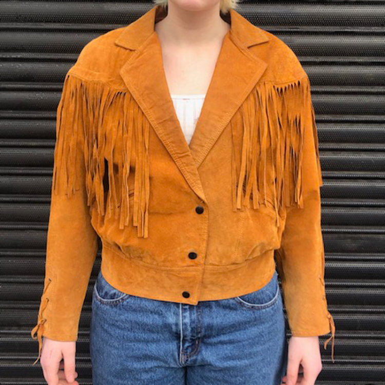 90s Orange Suede Fringed Jacket